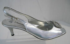 J. Renee Classic Silver Peep Toe Slingback With Rhinestones Size 9 1/2 M, NEW