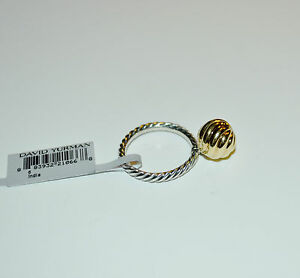 DAVID YURMAN 18K Yellow Gold 10mm Cable Ball Stack Ring Sterling Silver Size 6