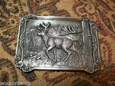 Deer Buck Vintage Belt Buckle 1984 Oregon Free USA ship Animal Metal Williams