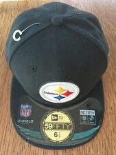 PITTSBURGH STEELERS NEW ERA KID NFL ONFIELD 59FIFTY FITTED HAT SIZE 6 1/2 BLACK