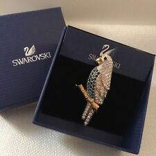 Signed Swan Swarovski Pave with Montana Blue & Clear Crystal Parrot Brooch Pin