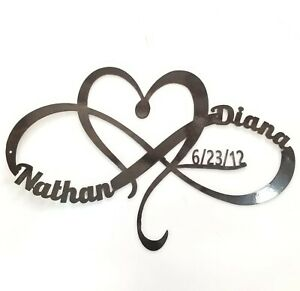 "24"" Wide Metal Heart and Infinity Sign Custom Name and Date Wedding Anniversary"