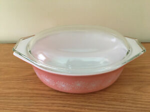 Vtg PYREX pink white Daisy 1.5 qt Cinderella oval casserole dish with lid #043