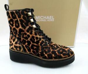 Michael Kors Haskell Bootie Lace Up Zip Combat Boots MK Logo Leopard Size 7