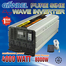 Pure Sine Wave Power Inverter 4000W (8000W Max) 12V-240V With 20 Amp Output Box