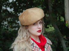 1960s Schiaparelli hat tam tan felt fur hat with decorative top stitching