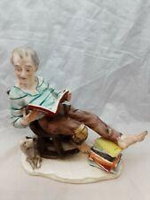 Vintage NORLEANS Japan Old Man Reading Books with His Dog Porcelain Figurine