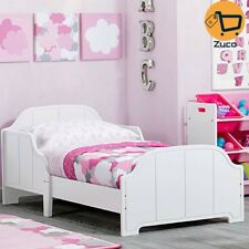 Baby Girls Toddler Bed Wood Bedroom Furniture W Safety Rail For Kids  Children
