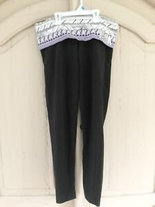Victorias Secret Pink Nation Black Cropped Yoga Athletic Fold Over Pants Medium