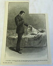1885 antique magazine engraving ~ Man stood looking down at the fair dead  face