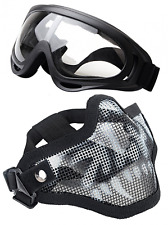 Airsoft Half Face Mask Steel Mesh & Goggles Set, Paintball, Hunting, Protection
