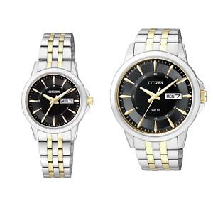 Citizen Uhren für Paare Damen Herren Bicolor Schwarz Partnerlook Gold Silber NEU