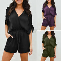 Size Womens V Neck Holiday Jumpsuit Shorts Batwing Sleeve Loose Romper Playsuits
