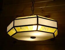 Vintage 70s Stained Glass Hanging Ceiling Light Fixture Yellow White Swirl