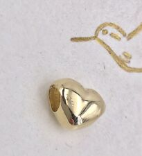 14K Yellow Gold Puffy Heart 2 Sided Charm/Bead, New
