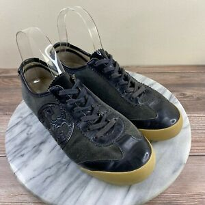 Tory Burch Murphy Gray Leather Lace Up Casual Sneakers Womens Size 8