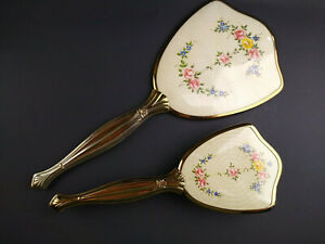 Vintage Gold Tone 2 Pc Vanity Set Hand Mirror and Brush Floral Design