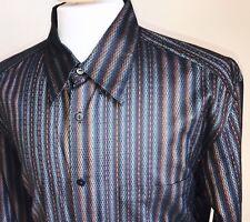 Jhane Barnes Multi Color 70/30 Silk Rayon Textured Button Shirt Mens Size XL