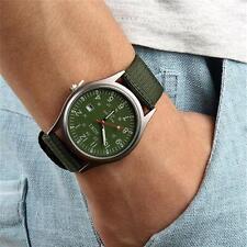 Moda Hombres Fecha Lona Acero Inoxidable Militar Sport Cuarzo Reloj De Pulsera