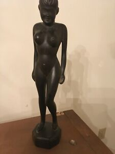"""ANTIQUE WOOD CARVED NUDE ASIAN FEMALE 14.5"""" TALL LOOK"""