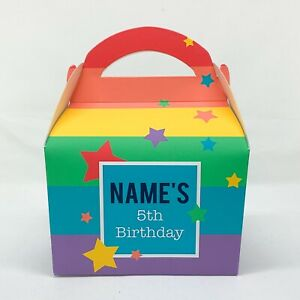 Rainbow Children's Personalised Party Boxes Favours Gift Bags Bright Colourful