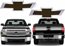 Black Painted Front & Rear Grill & Tailgate Bowties For 2014-2016 Silverado New