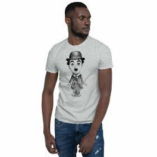 T-shirt Charlie Chaplin Print Men Women Unisex Tee Shirt Casual Style Gray