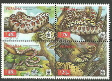 Ukraine - Leopardnatter Viererblock 2002 postfrisch Mi. 502-505