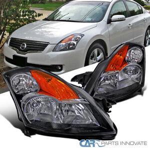For 07-09 Nissan Altima 4Dr Sedan Matte Black Headlights Amber Signal Lamps Pair