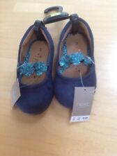 BNWT GIRLS NAVY FAUX SUEDE PARTY SHOES, GLITTER FLOWERS, NEXT SIZE UK 3 RRP £12