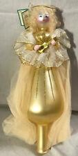 Vintage Soffieria De Carlini Golden Angel Christmas Tree Topper Ornament {A}