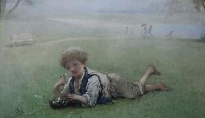 A Boy in Regents Park Antique Watercolour Portrait Albert Ludovici Snr 1886