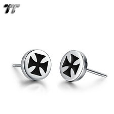 TT 8mm Stainless Steel Round Iron Cross Stud Earrings (EC90) NEW