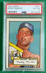 1952 Topps Mickey Mantle #311 PSA 4 VG-EX GREAT COLOR! ROOKIE!