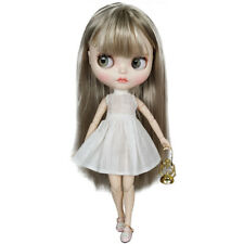 Blythe Nude Doll from Factory Silver Straight Hair Make-up Eyebrow Sleeping Eyes