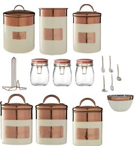 Cream Copper Embossed Stainless Steel Kitchen Canisters Jars Tea Coffee Sugar