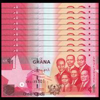 Lot 10 PCS, Ghana 1 Cedi, 2015, P-37 NEW, banknote, UNC