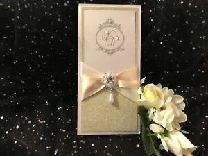 WEDDING INVITATION VINTAGE  CHAMPAGNE GLITTER & IVORY LASER CUT MONOGRAM