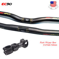 EC90 Carbon Fiber Handlebars 25.4/31.8*660-760mm MTB Road Bike AL Stem 90/110mm