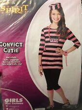 Costume Girls Prison Convict Cutie Bad Attitude Pink Halloween M Tween Teen