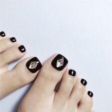 Diamond Rhinestone Fake Foot Nails 24pcs/Set Pretty Black Toes False Nails