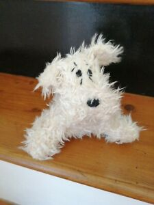 """vintage RUSS BERRIE 'Curly' Soft Toy Dog, White Curly-Haired, 6"""" Sitting"""