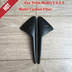 For Tesla Model Y 3 X S Matte Carbon Fiber Side camera protection cover 2PCS