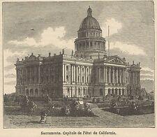 C8642 California - Sacramento - View - Stampa antica - 1892 Engraving