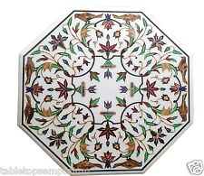"30""x30"" Marble Coffee Table Top Inlay Mosaic Marquetry Furniture Decorative"