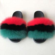 Multi-color Furry Slides Women's Fluffy Fox Fur Slippers Sandals Fancy Shoes