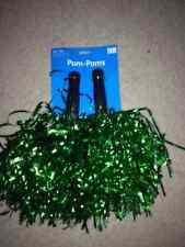 Pair of Green Metallic Cheerleading Pom Poms *New Color*