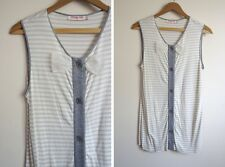 Dorothy Lee Dolly Bow Striped Sleeveless Top Blouse indie Tank cute S