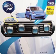 New Ambi Pur Car Air Mini Clip Freshener Sky Breeze - 4 x 2mL