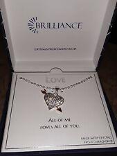 Plated Swarovski Crystal Brilliance Heart Necklace Silver